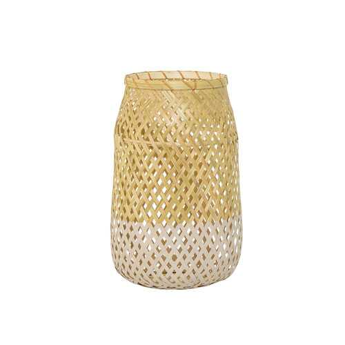 Bloomingville Natural and Cream Bamboo Lantern with Glass Insert