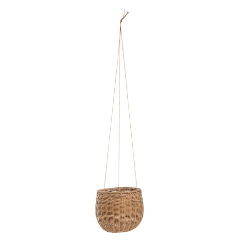 Bloomingville Hanging Rattan Basket with Faux Leather Strings