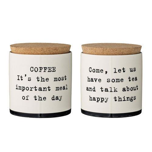 Josephine Ceramic Jar with Cork Lid, Set of 2