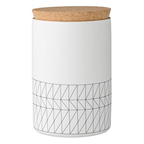 Bloomingville Carine White and Black Ceramic Jar with Cork Lid