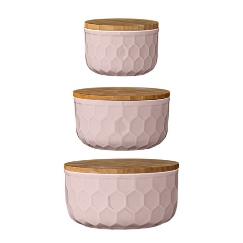 Bloomingville Nude Round Ceramic Bowls with Bamboo Lids, Set of 3