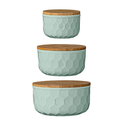 Mint Round Ceramic Bowls with Bamboo Lids, Set of 3