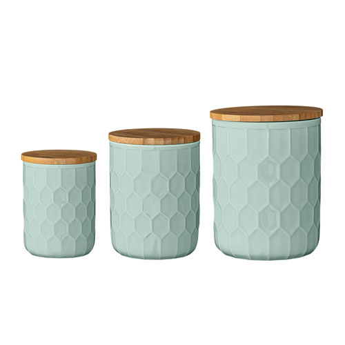 Bloomingville Mint Ceramic Jars with Bamboo Lids, Set of 3
