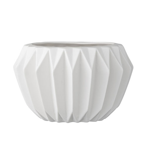 White Ceramic Fluted Flower Pot