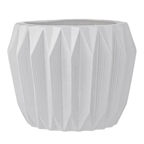 Bloomingville White Ceramic Fluted Flower Pot