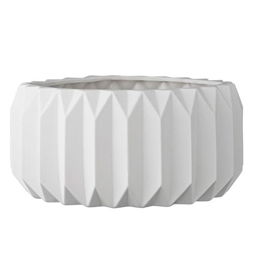 White Ceramic Fluted Flower Pot