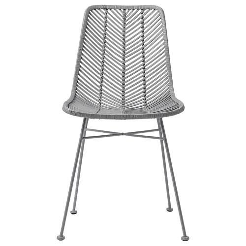 Gray Rattan Armless Chair