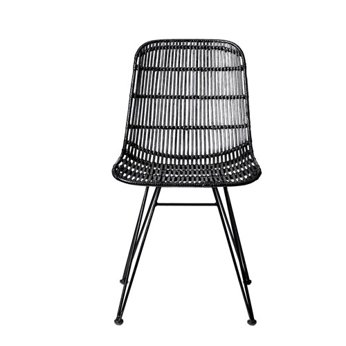 Black Rattan Armless Chair
