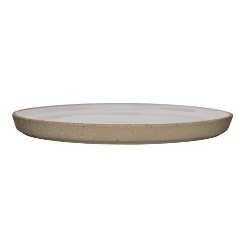 Barbra White Round Ceramic Plate, Set of 4