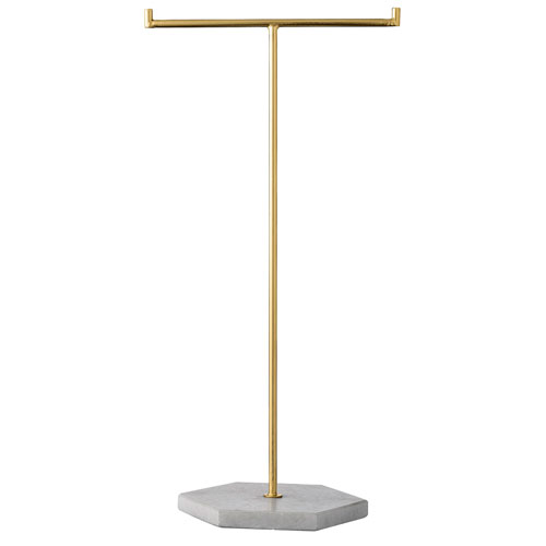 Gold Jewelry Stand with White Marble Base