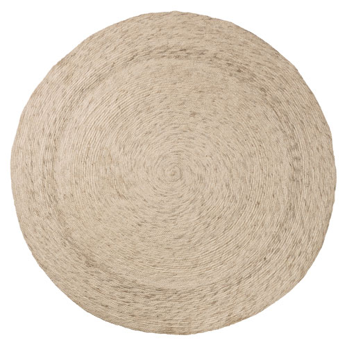 Bloomingville Ivory Round: 64 In. Braided Wool and Cotton Rug