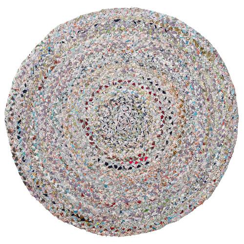 Multicolor Round: 36 In. Braided Cotton Rag Rug
