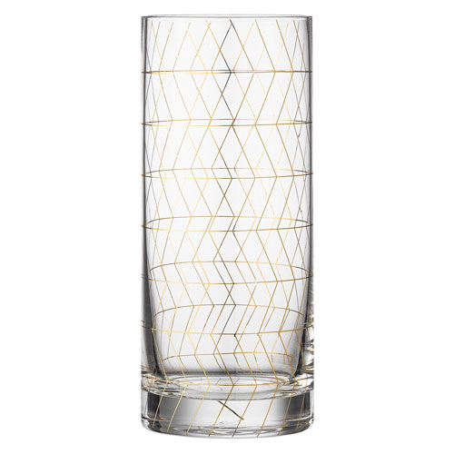 Bloomingville Drinking Glass with Gold Geometric Pattern