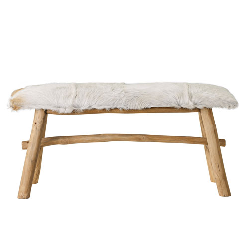 Wood Bench with Goat Skin Top