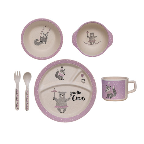 Malamine Off White and Purple Dancing Bear Kids Serving Set in Box