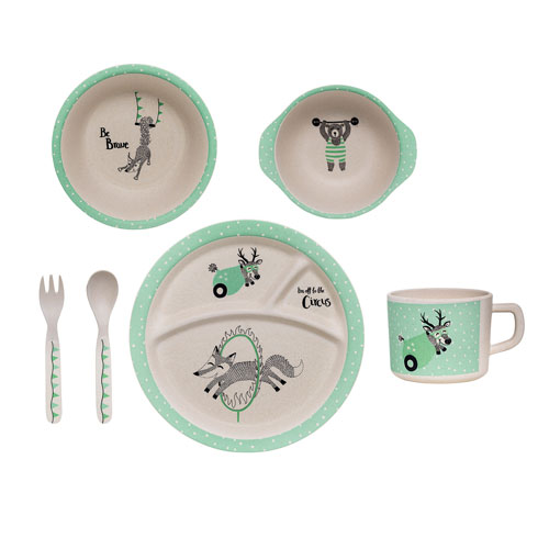 Bloomingville Bamboo Off White and Mint Kids Serving Set in Box