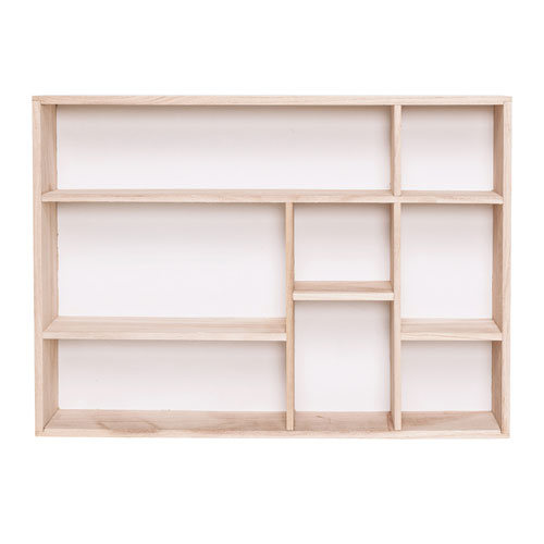 Natural and White Wood Display Box Shelf