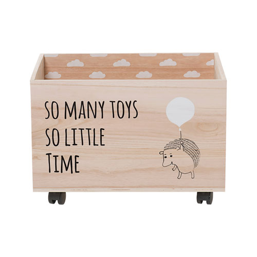 Bloomingville Hedgehog Wood Box with Wheels