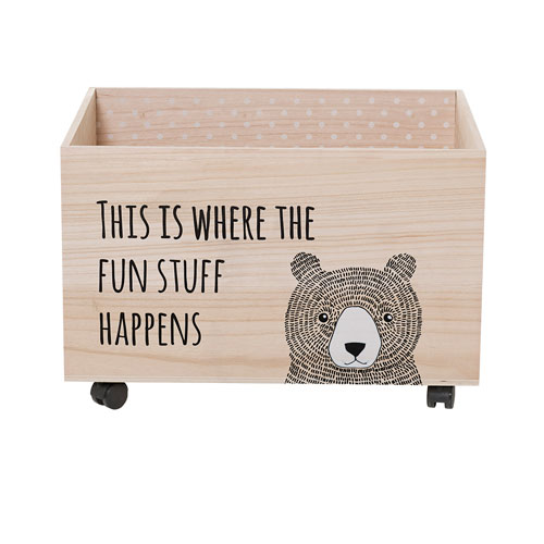 Bear Wood Box with Wheels