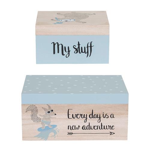 Bloomingville Blue Wood Storage Boxes, Set of 2