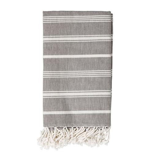 Gray and White Stripe Cotton Throw