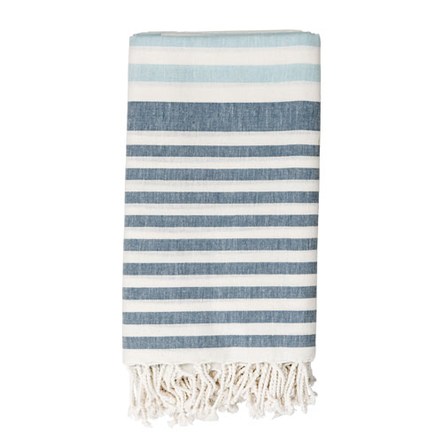 Bloomingville White and Winter Blue Cotton Throw
