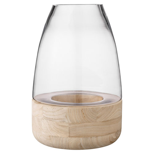 Bloomingville Glass Lantern with Wood Base