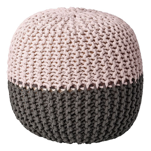 Gray and Nude Round Pouf