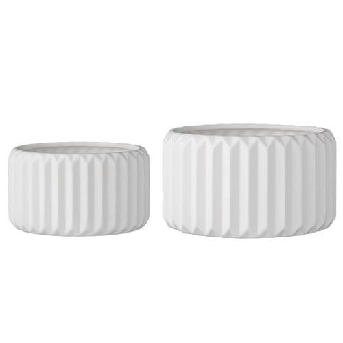 White Ceramic Flower Pots, Set of 2