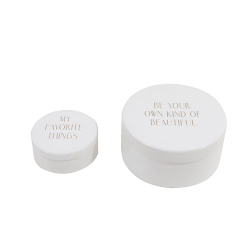 White and Gold Round Ceramic Boxes, Set of 2