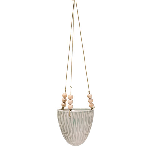 Cream Ceramic Hanging Flowerpot