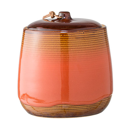 Brown and Orange Ceramic Jar with Lid