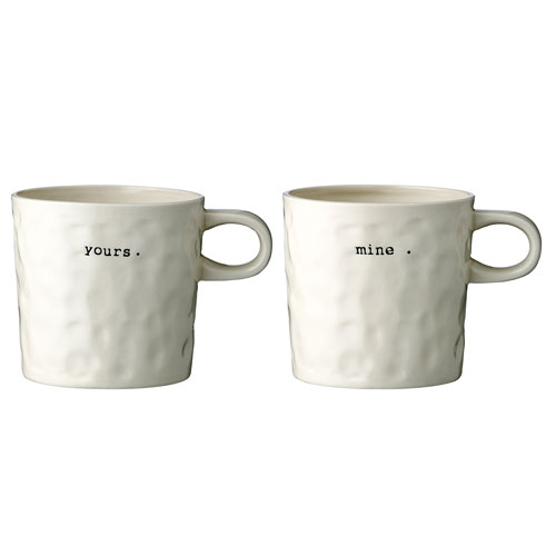 Bloomingville Mine and Yours Ceramic Mug, Set of 2