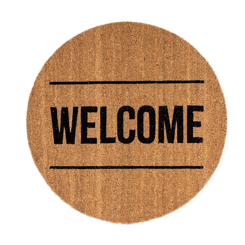 Welcome Round Coir Door Mat