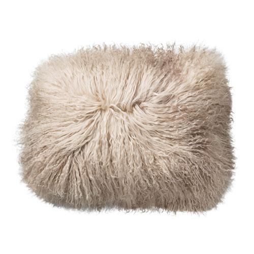 Sand 16 In. Square Tibetan Lamb Fur Pillow