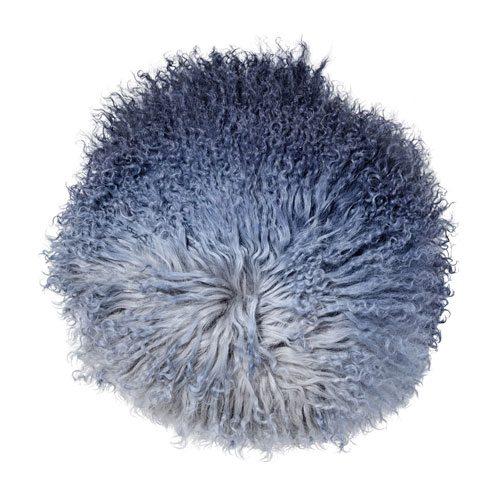 Gray 14 In. Round Tibetan Lamb Fur Pillow