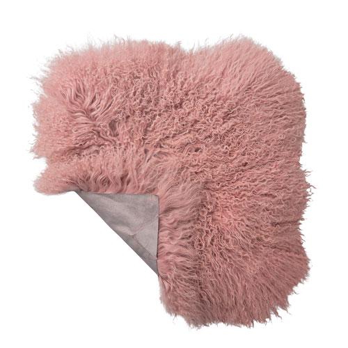 Bloomingville Pink 16 In. Square Tibetan Lamb Fur Seat Cover
