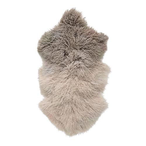 Stone and Off White Tibetan Lamb Fur