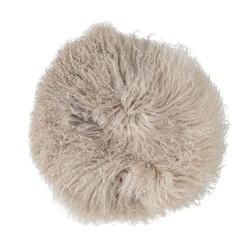 Stone and Off White 14 In. Round Tibetan Lamb Fur Pillow