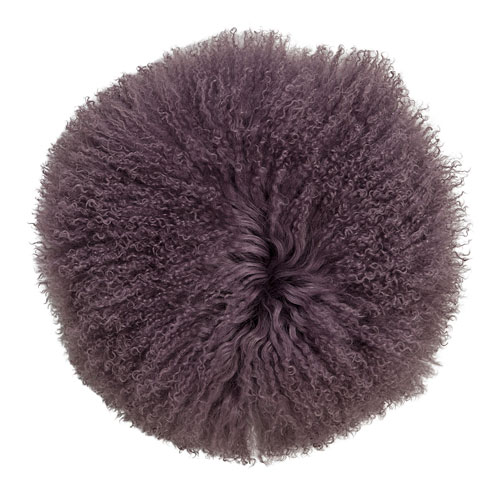 Plum 14 In. Round Tibetan Lamb Fur Pillow