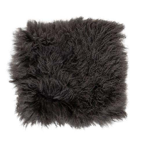 Gray 16 In. Square Tibetan Lamb Fur Seat Cover