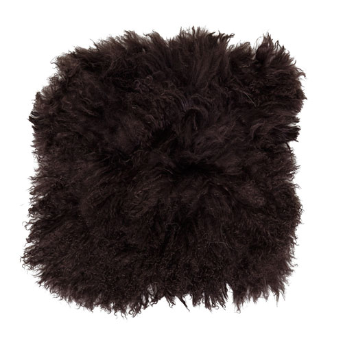 Brown 16 In. Square Tibetan Lamb Fur Seat Cover