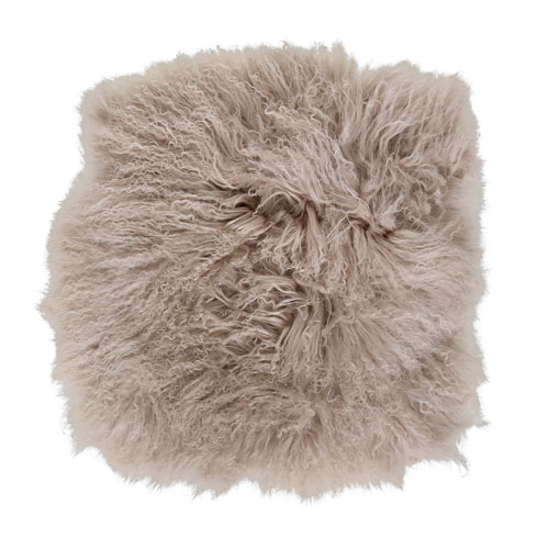 Light 16 In. Square Tibetan Lamb Fur Seat Cover