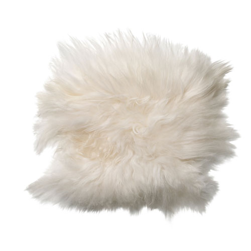 White 15 In.  Square Icelandic Sheep Fur Seat Cover