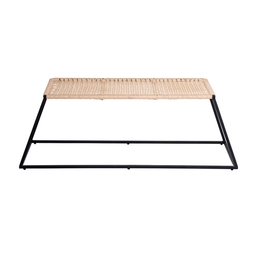 Natural and Black Metal and Hemp Trapeze Bench