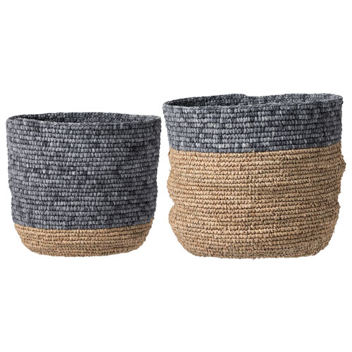 Bloomingville Natural and Gray Round Baskets, Set of 2