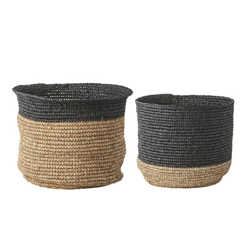 Natural And Black Round Baskets, Set Of 2
