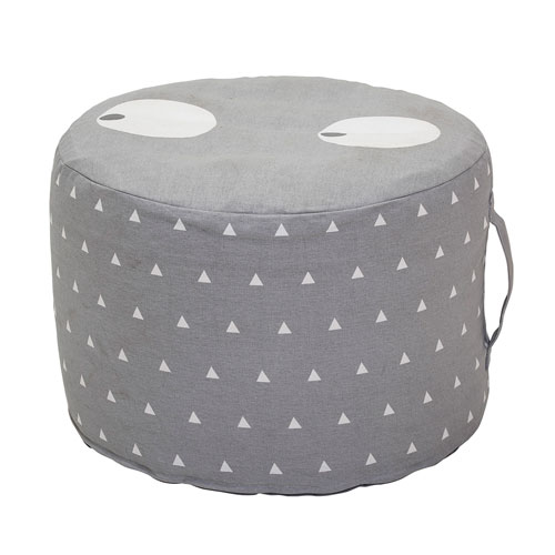 Gray Round Cotton Pouf.