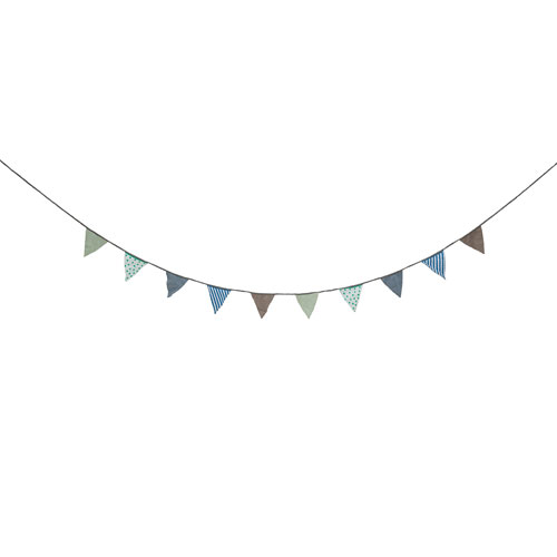 Bloomingville Gray, Blue and Green Fabric Banner