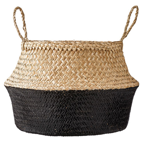 Bloomingville Natural and Black Seagrass Basket with Handles